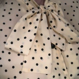 Vintage polka dot shirt with neck tie. Size large